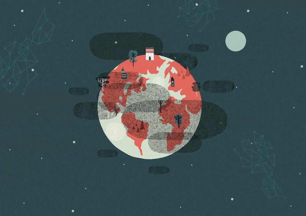 2d animasjon av jordkloden med roeyk maanen og stjerner rundt seg for matprat sin forklaringsfilm om matsvinn