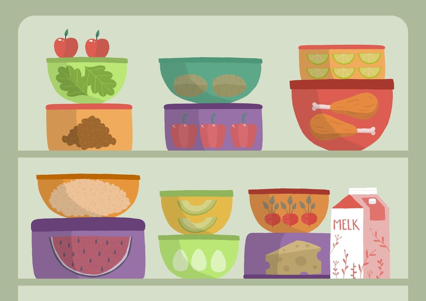 2d animasjon av matresten som epler paprika kylling og melk i kjoeleskapet for matprat sin forklaringsfilm om matsvinn