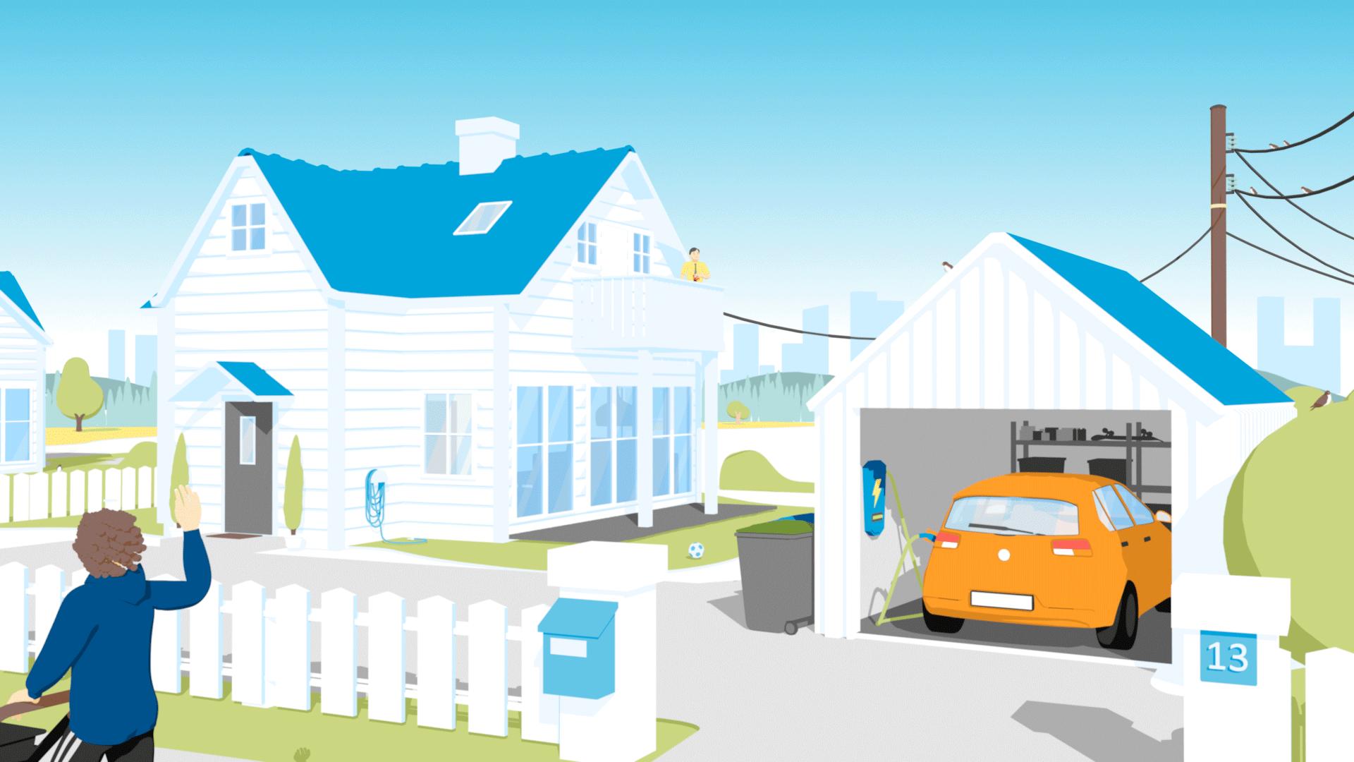 2d animasjon lagd i 3d for hafslund av en person med barnevogn som vinker til en mann med kaffe på terrasse på et hus