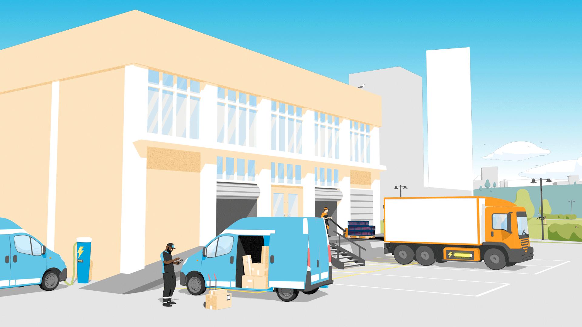 2d animasjon og infografikk av budbil bud og lastebil ved en lasteplan lagd i 3d for hafslund