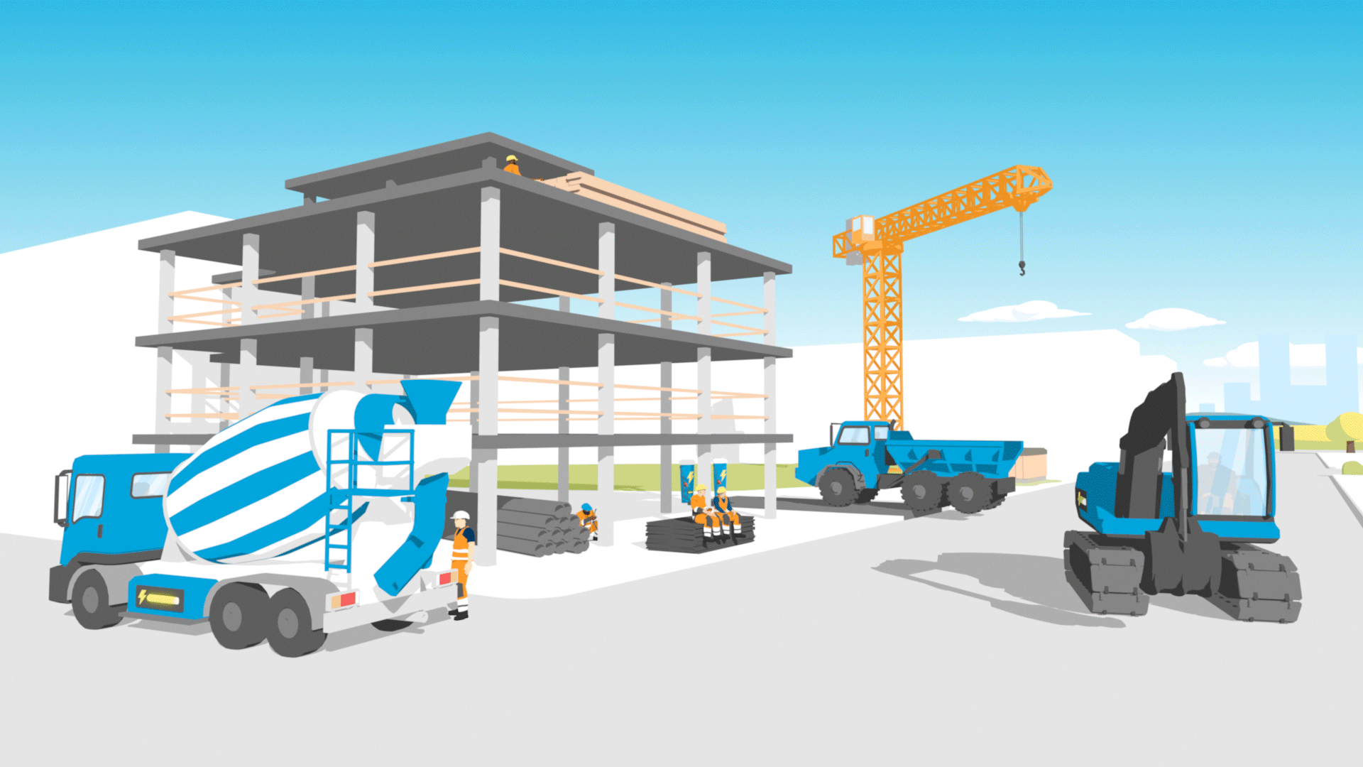 2d animasjon og infografikk av byggeplass der byggfolk spiser lunsjen sin og noen jobber lagd i 3d for hafslund