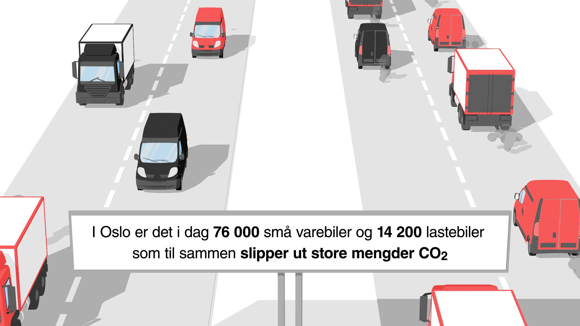 2d animasjon og infografikk av trafikken av transportbransjen lagd i 3d for hafslund