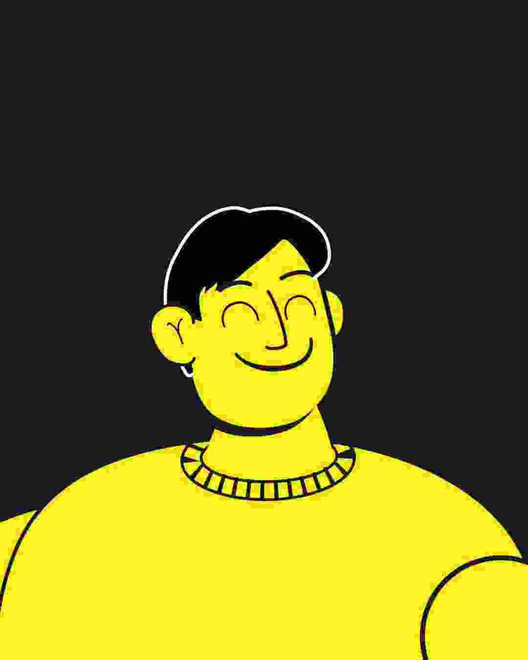 2d animasjon og karakter design av en gul mann for dmax d vitaminer