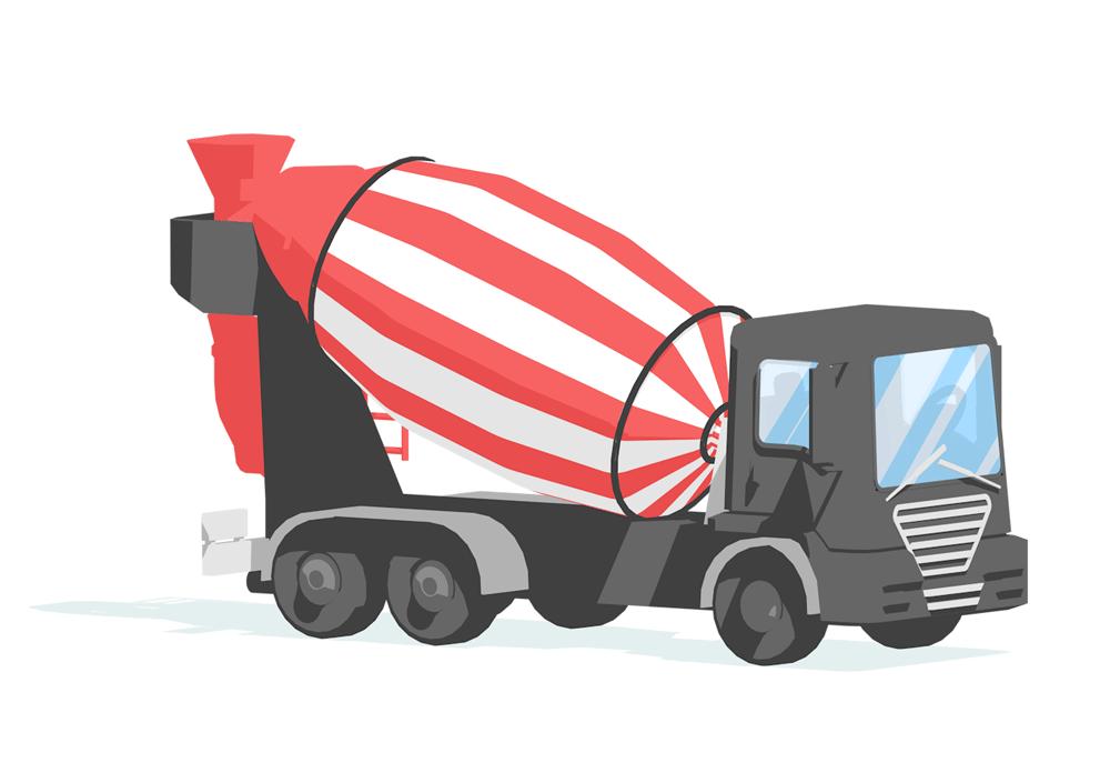 2d illustrasjon av en roed og sort betong lastebil lagd i 3d for hafslund