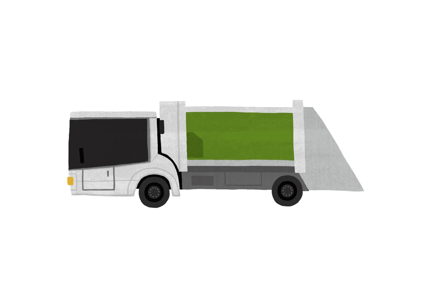 2d illustrasjon av en soeppelbil for matprat sin forklaringsfilm om matsvinn