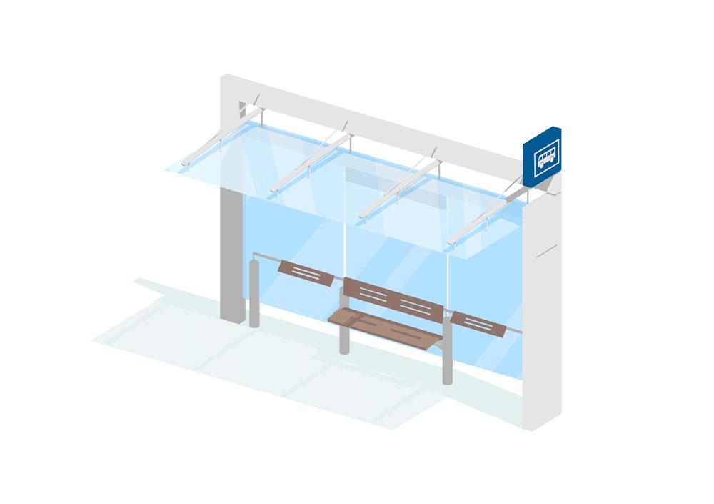 2d illustrasjon av et busstopp lagd i 3d for hafslund