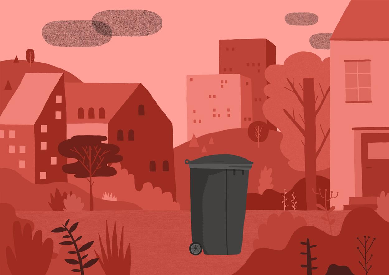 2d illustrasjon av soeppelkasse og by for matprat sin forklaringsfilm om matsvinn