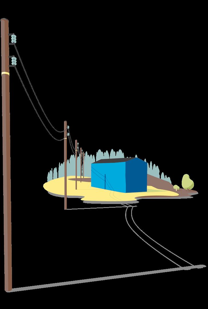2d illustrasjon lagd i 3d for hafslund av en laave som staar i en aaker med stroemstolper som gaar innover