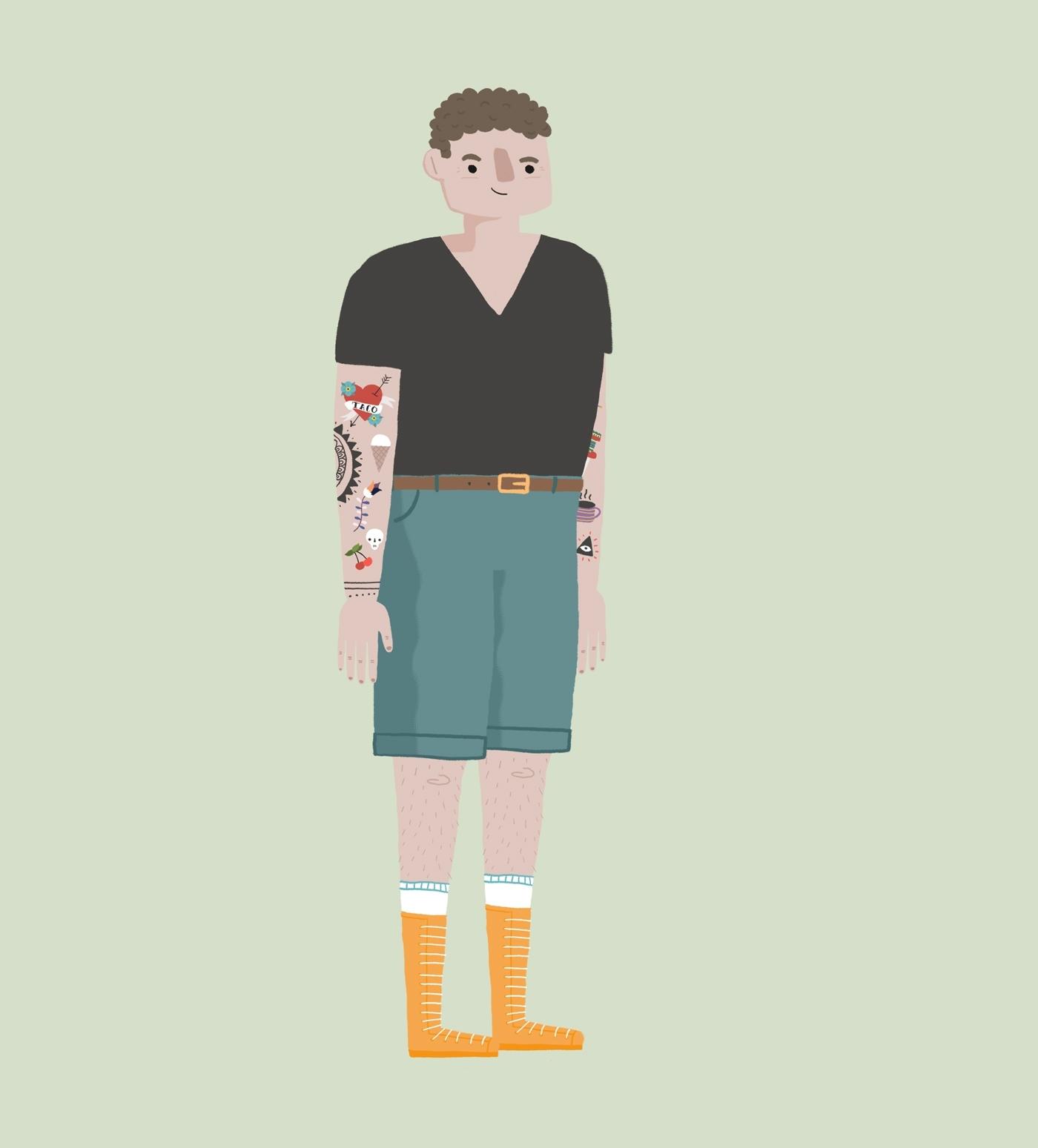 2d karakter design med tattoveringer og skjorts for matprat sin forklaringsfilm om matsvinn