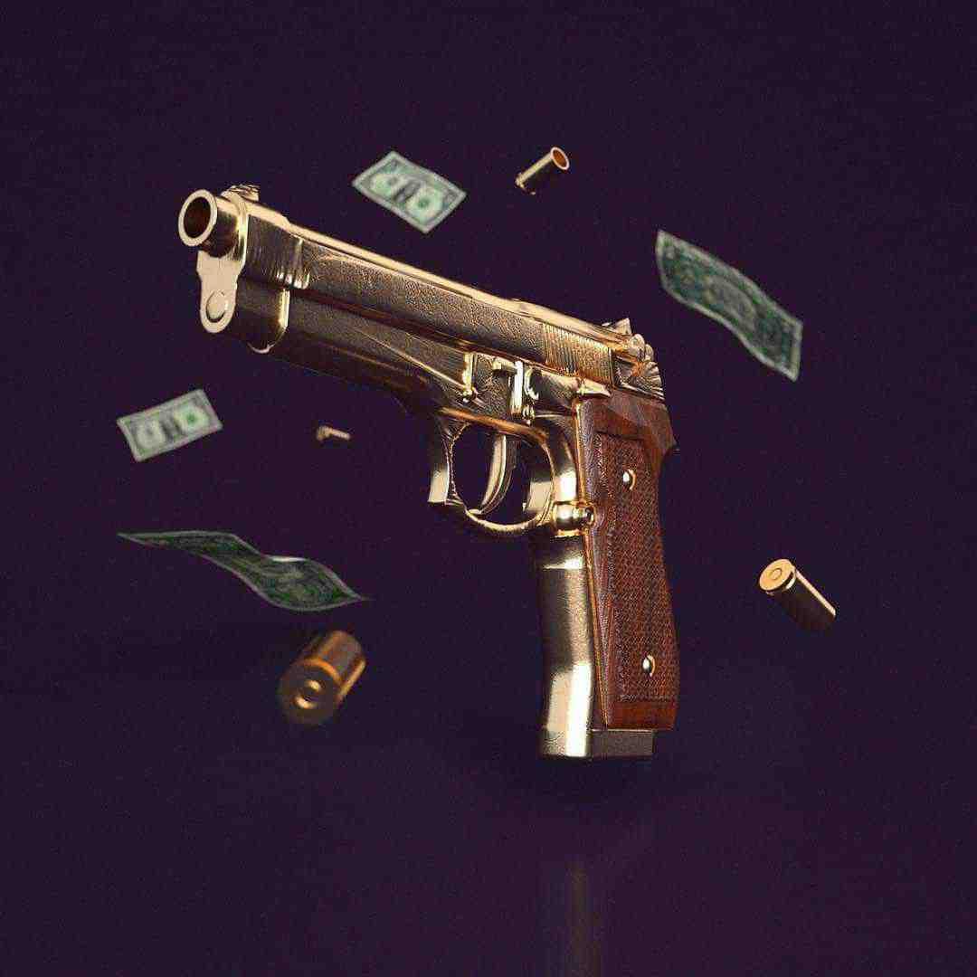 3 D design av en pistol penger og kuler