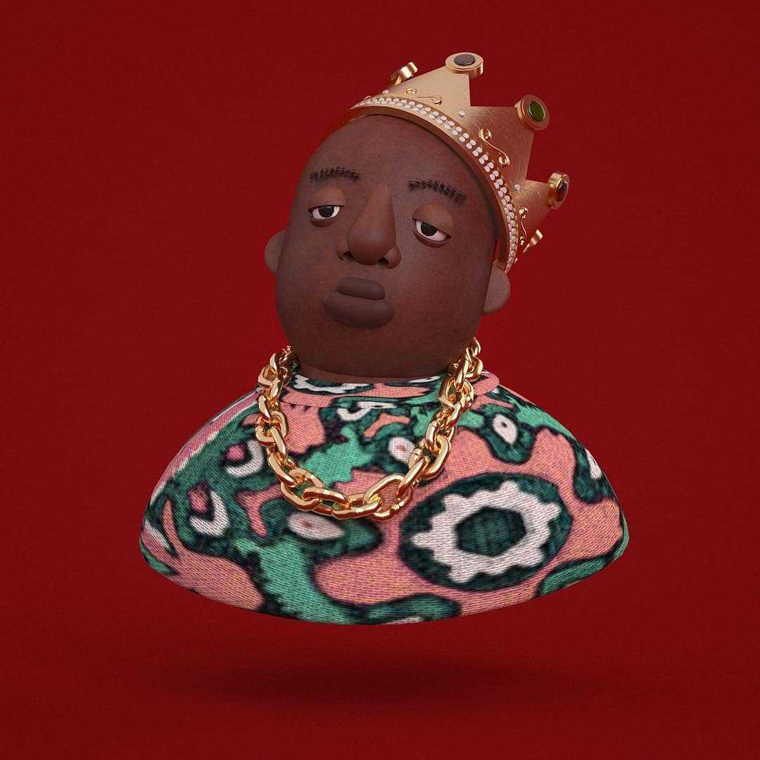 3 D karakter design av biggie smalls aka notorious B I G med krone på hodet