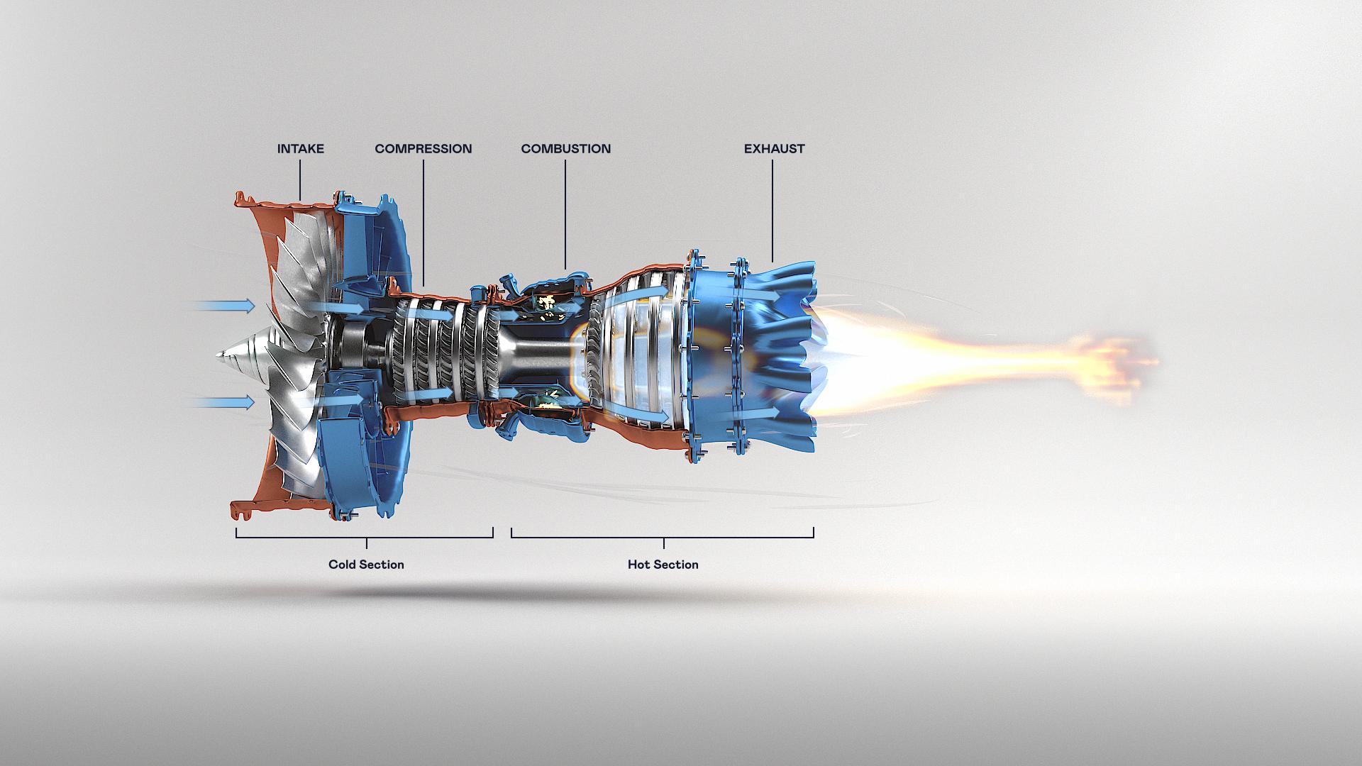 3d animasjon av 3d produkt visualisering der en jet motor har infografikk i tekst og flamme i eksosen