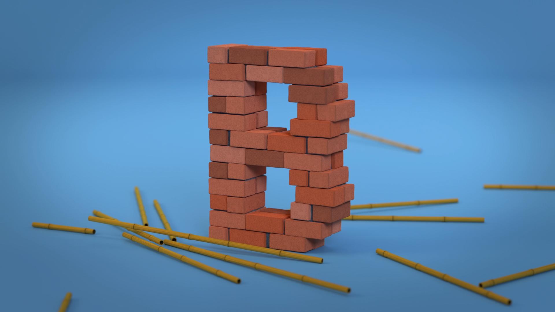 3d animasjon av bambus som stoetter opp en murvegg som danner formen av bokstaven b