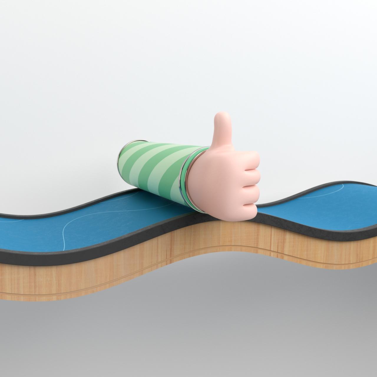3d animasjon av en arm som ruller langs en bane som svinger opp og ned handen holder tommelen opp lagd for nte