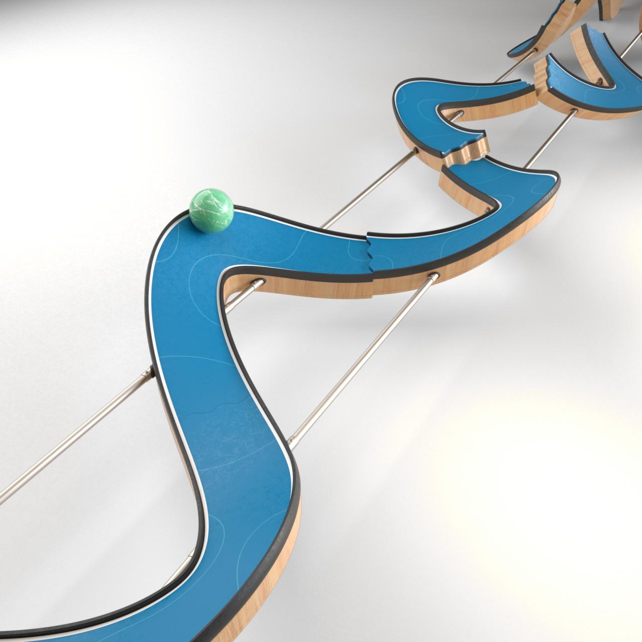 3d animasjon av en evighetsmaskin der en ball ruller frem og tilbake paa en bevegende bane lagd for nte