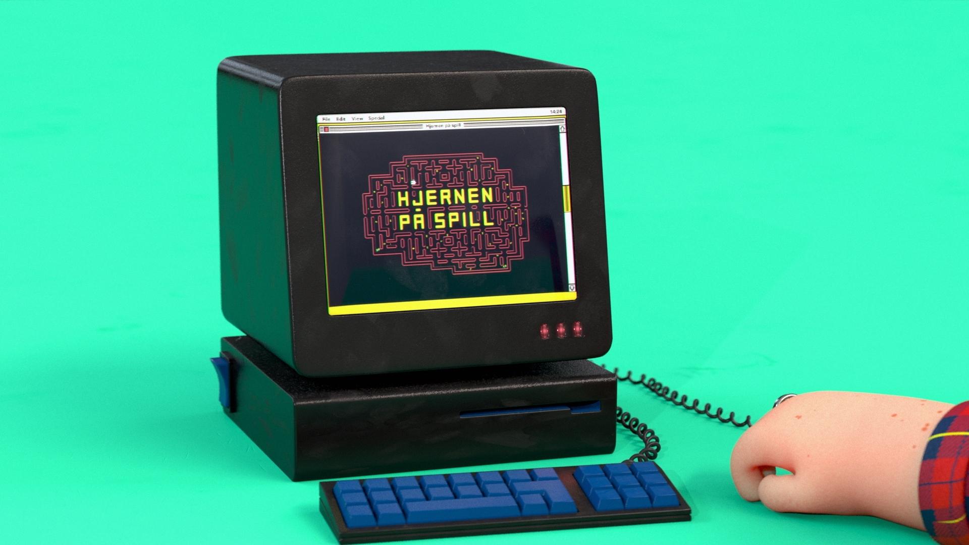 3d animasjon av en gammel datamaskin og en karakter som ser på skjermen for lotteritilsynets informasjonsfilms hjernen på spill