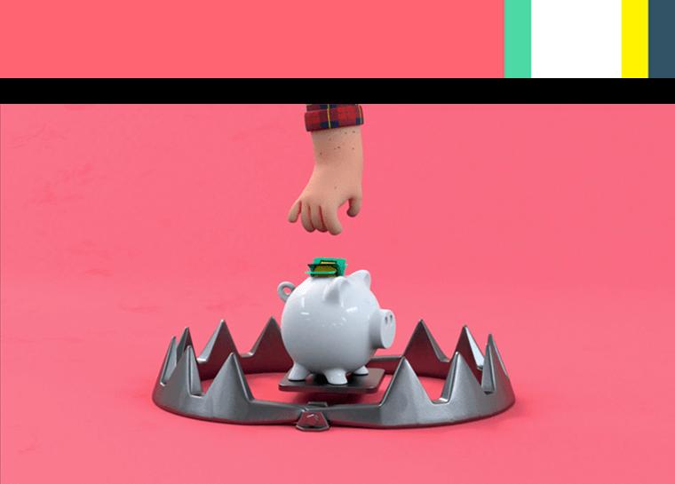 3d animasjon av en haand som strekker seg mot en sparegris med penger for lotteritilsynets informasjonsfilms hjernen paa spill med fargepalett