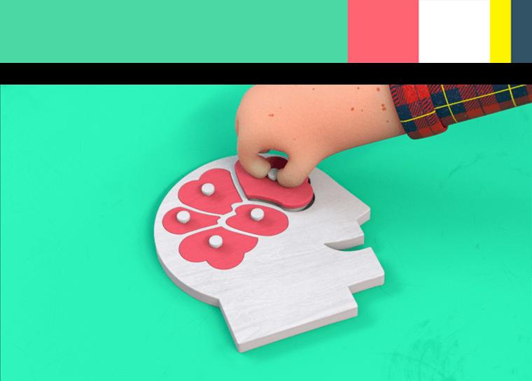 3d animasjon av en haand som tar ut en brikke fra en baby puslespill for lotteritilsynets informasjonsfilms hjernen paa spill med fargepalett