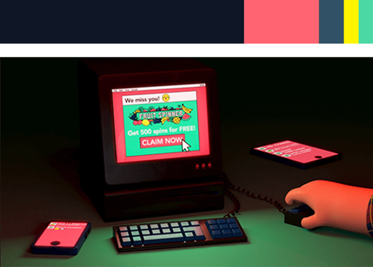 3d animasjon av en karakter som sitter i moerket paa en datamaskin for lotteritilsynets informasjonsfilms hjernen paa spill med fargepalett