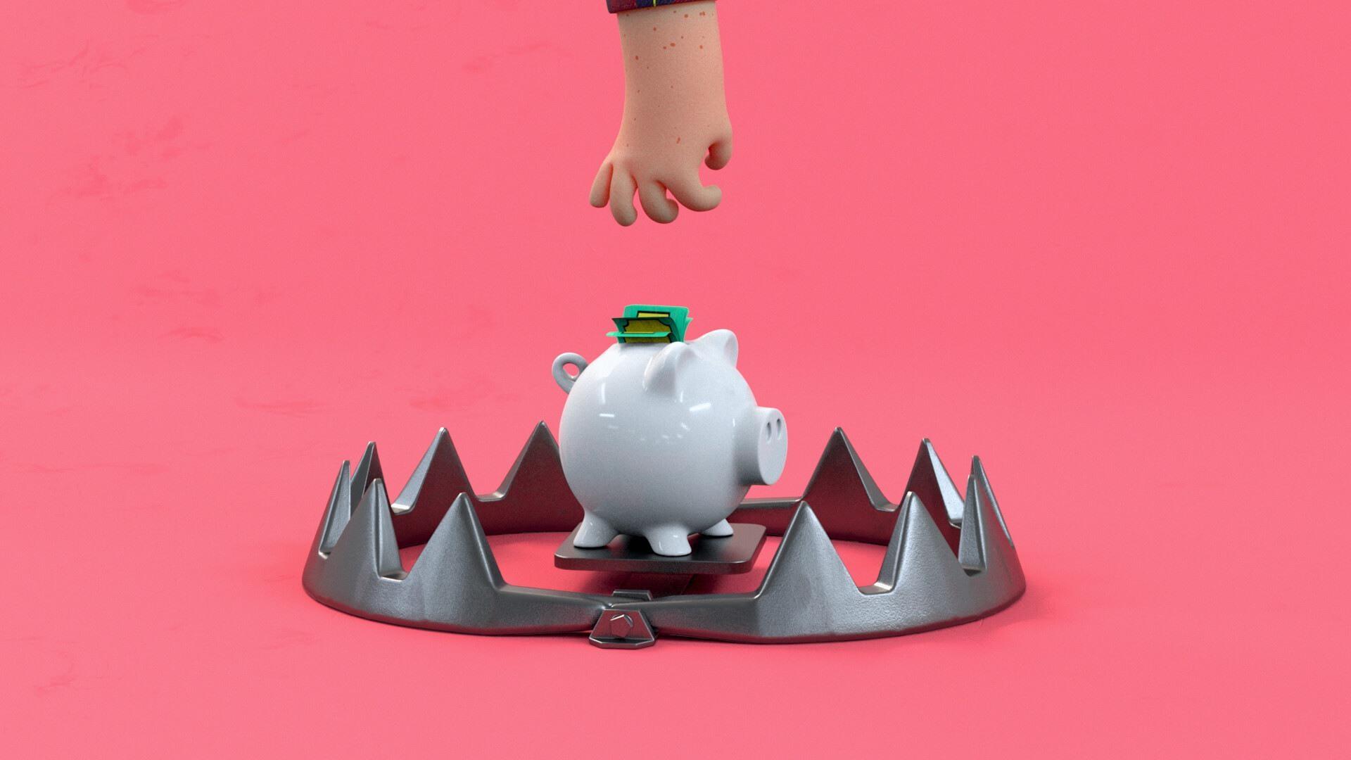 3d animasjon av en karakter som strekker seg mot en sparegris med penger med en bjoernefelle for lotteritilsynets informasjonsfilms hjernen paa spill