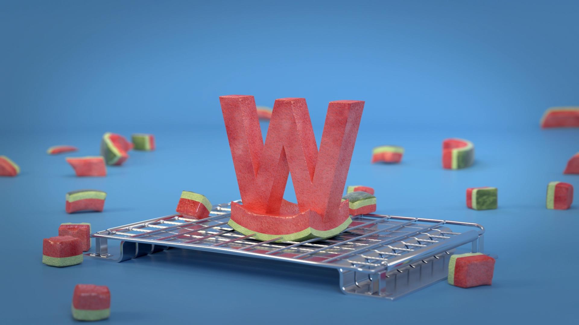 3d animasjon av en vannmelon som blir kuttet opp slik at den blir til bokstaven w