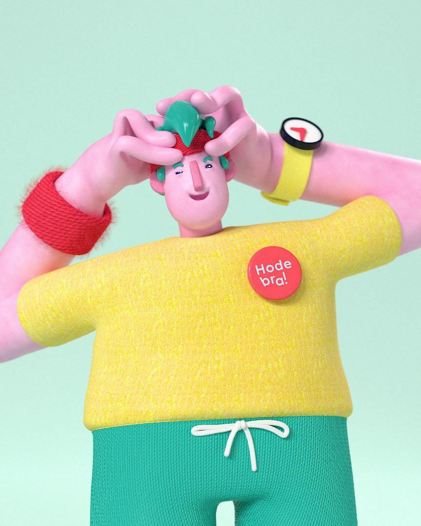3d animasjon av hodebra karakteren som er veldig avslappet fordi han gir seg selv en god hodemassasje