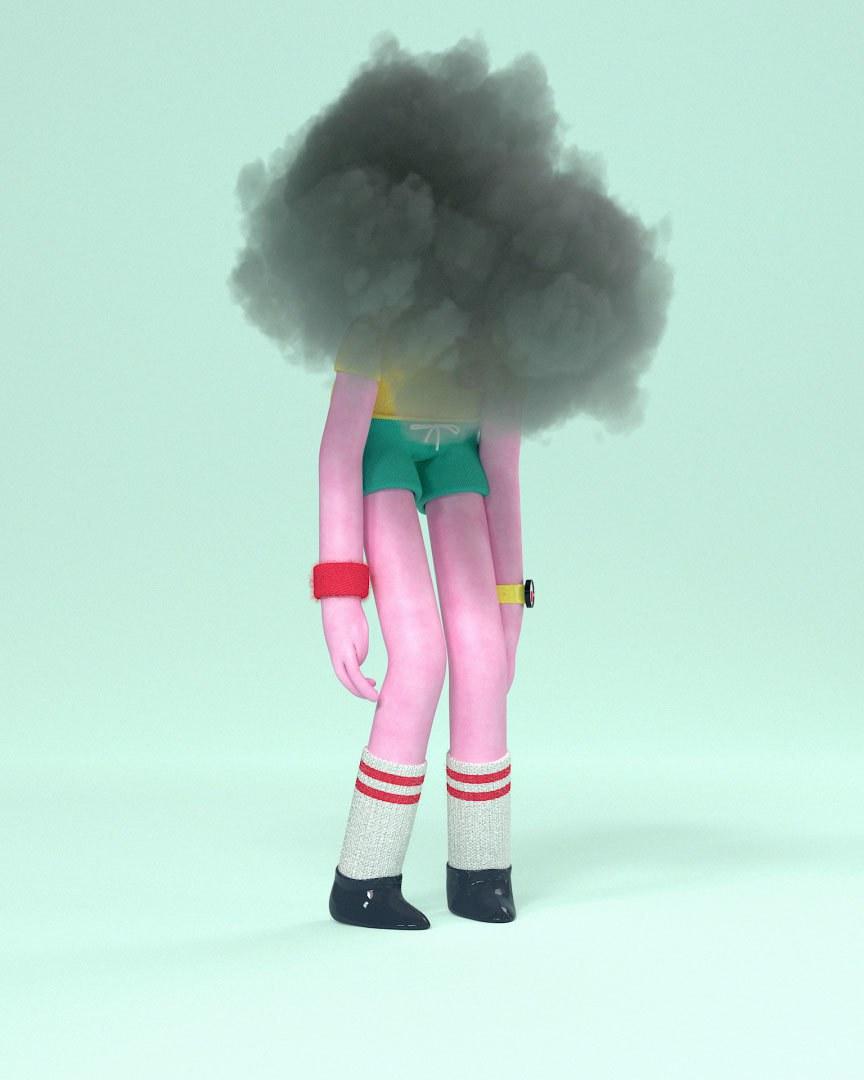 3d animasjon av hodebra karakteren som staar sliten paa gulvet med en graa moerk sky rundt hodet