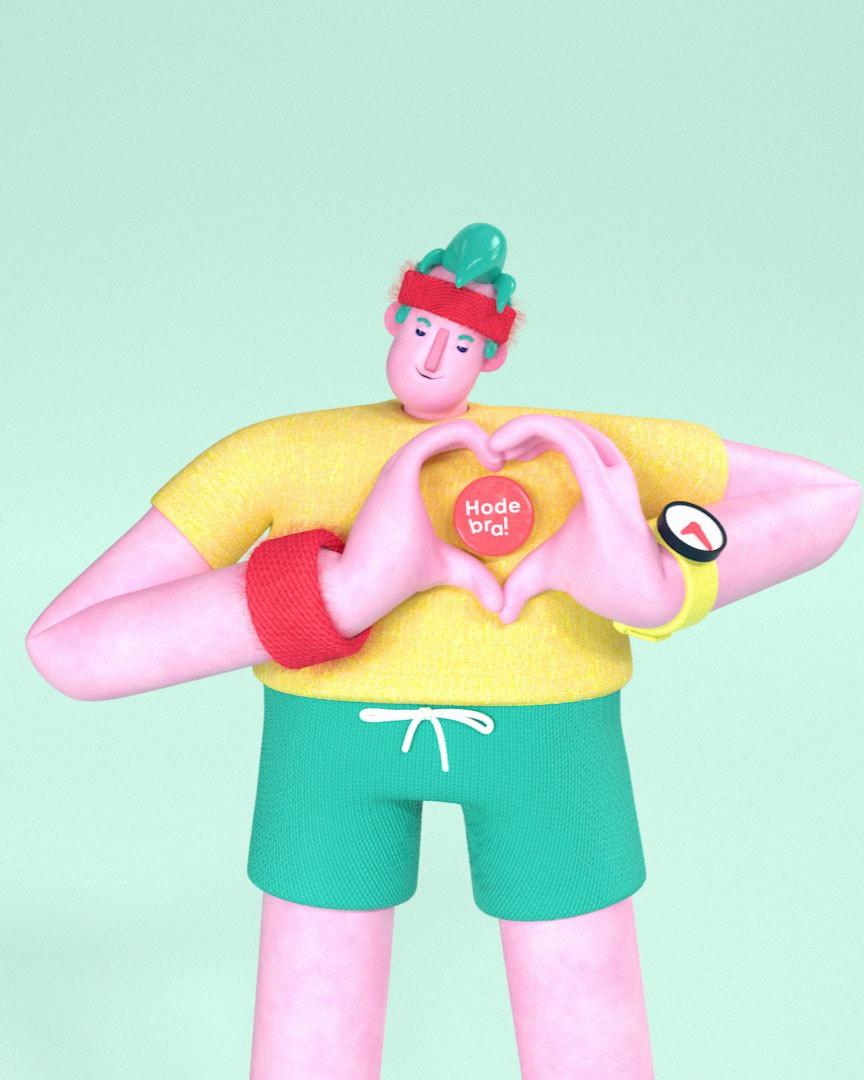 3d animasjon av hodebra karakteren som viser et hjerte med hendene rundt merket han har paa t skjorten sin
