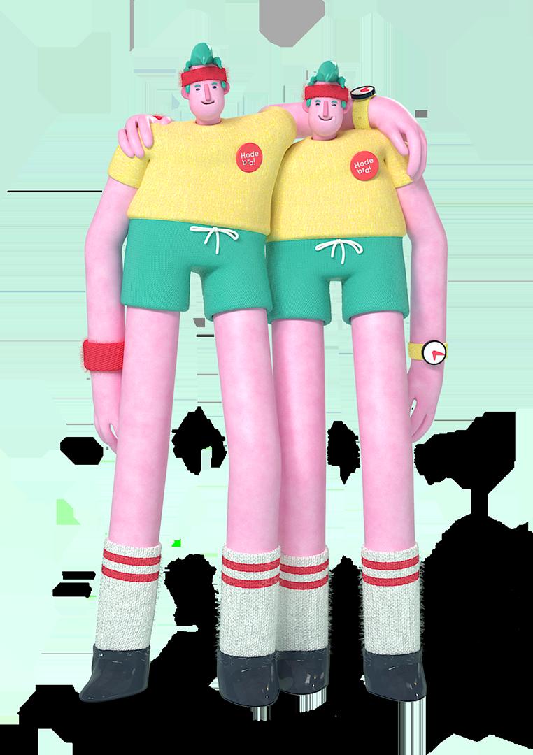 3d animasjon av hodebra karakterene som er holder armene over skuldrene til hverandre de smiler og er glad
