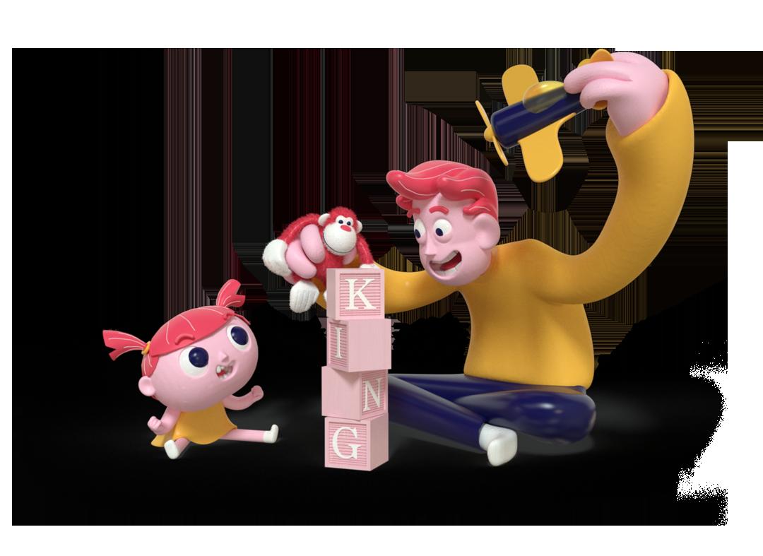 3d animasjon og karakter illustrasjon design av en far som leker med lekefly og gorillabamse foran datteren sin