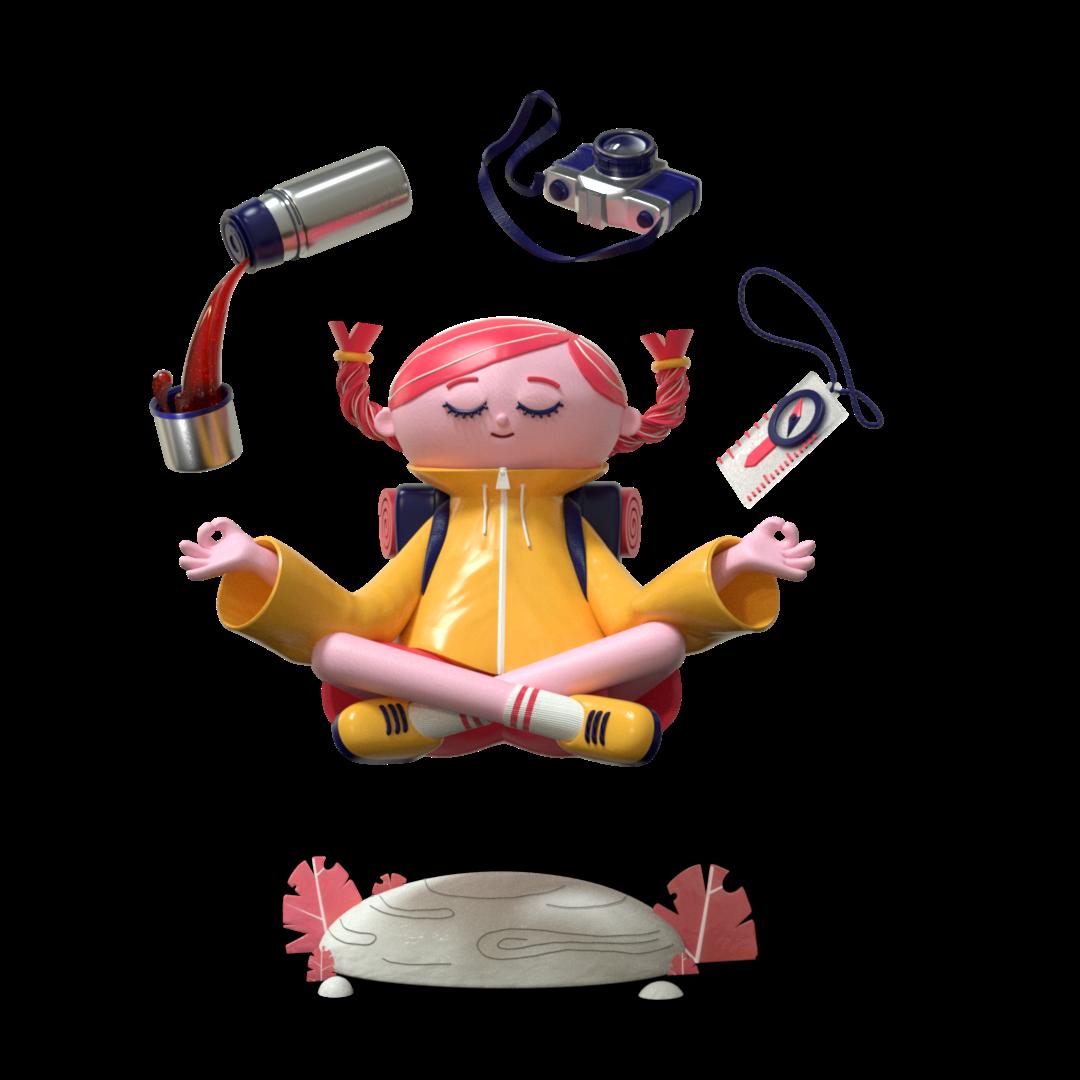 3d animasjon og karakter illustrasjon design av en jente som mediterer ute hun har kaffe kamera og kompass som flyter over henne