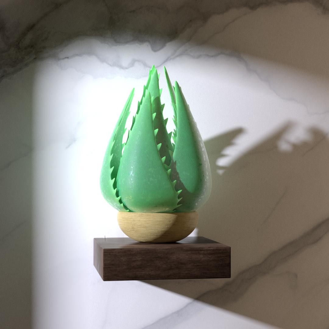 3d design av en eucalyptus aloe vera plante med naturlig lyssetting i saeregen stil