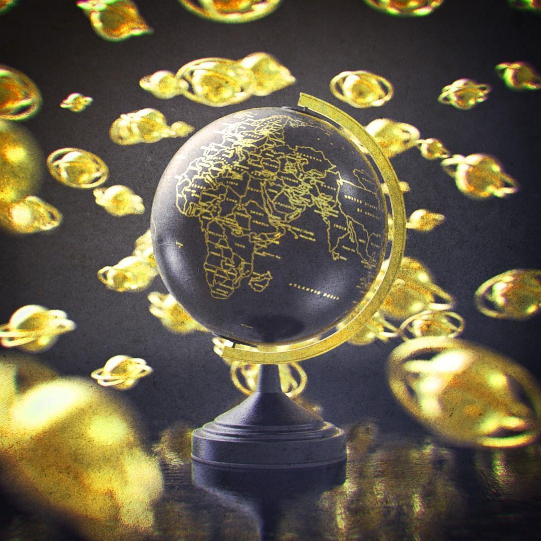 3d design av en globus lagd av gull