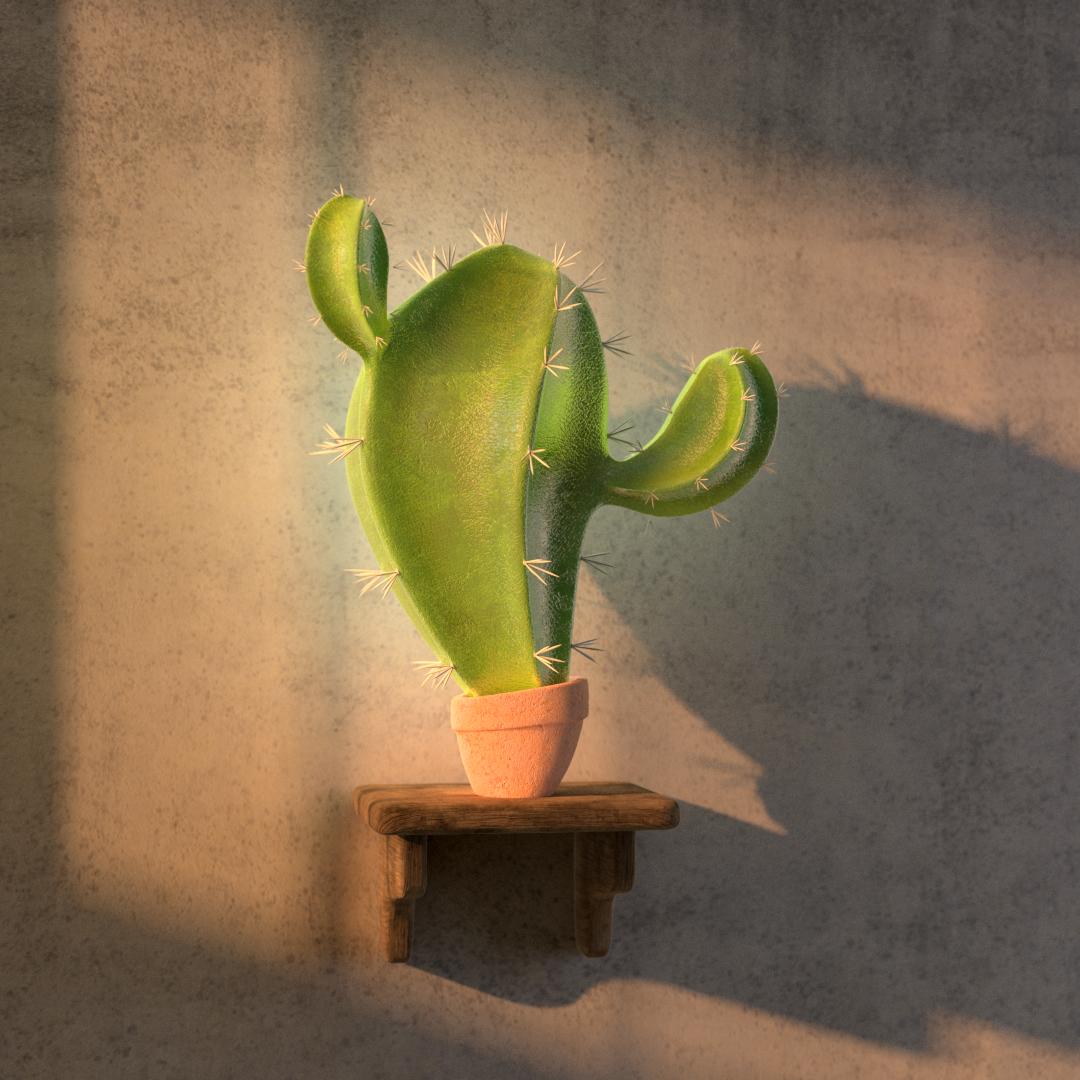 3d design av en kaktus plante med naturlig lyssetting is saeregen stil