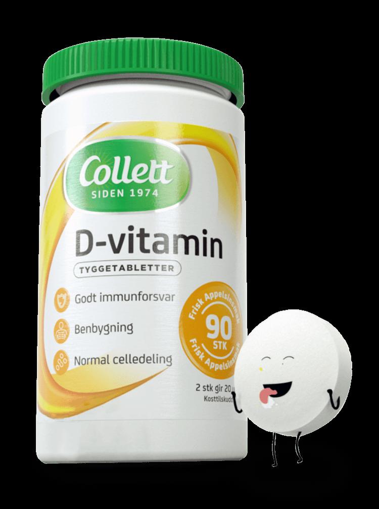 3d design av en orkla d vitamin karakter som slikker seg selv rundt munnen ved siden av kapselbeholderen