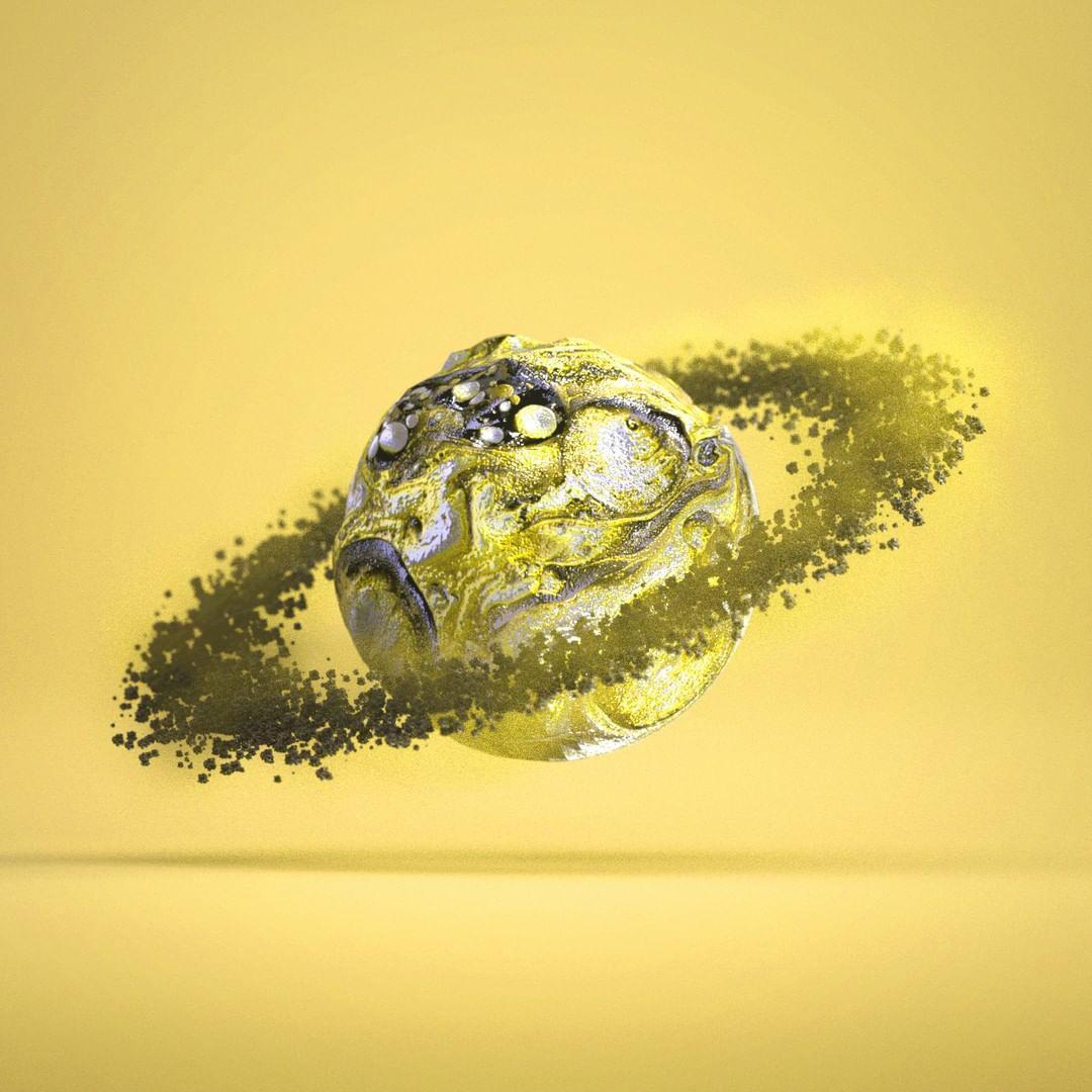 3d design av en saturn lignende planet med maaner rundt seg