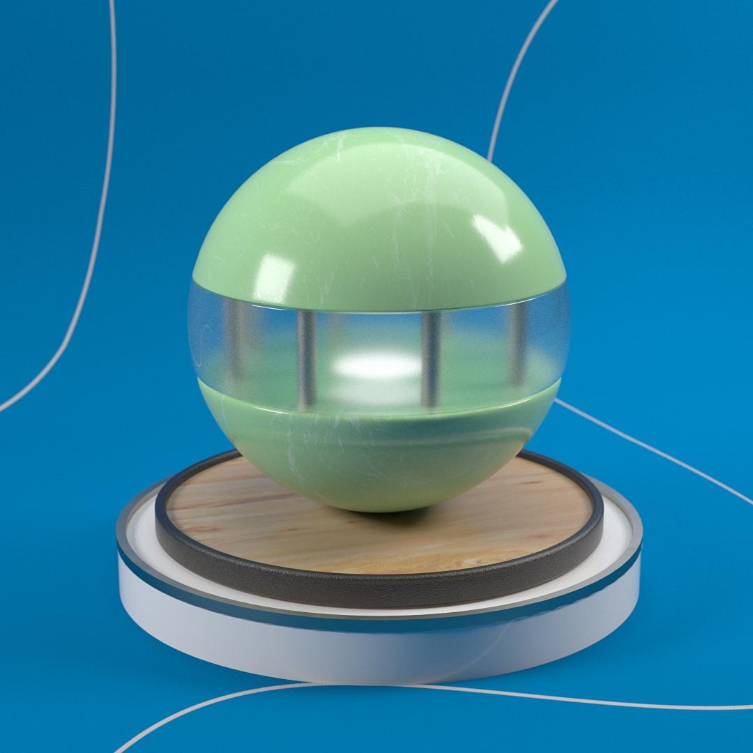 3d design paa ball og plattform som viser frem hvordan tekstur og farge blir for nte animasjonene