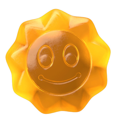 3d produktvisualisering av dmax sin smilende d vitamin solkapsel ansikt lagd for animasjon