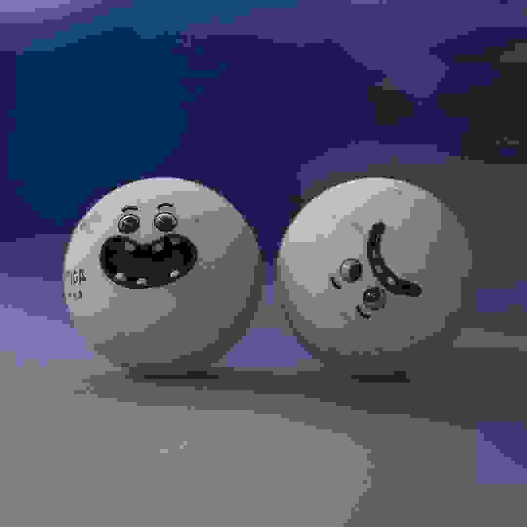 Karakter design av to ping pong baller
