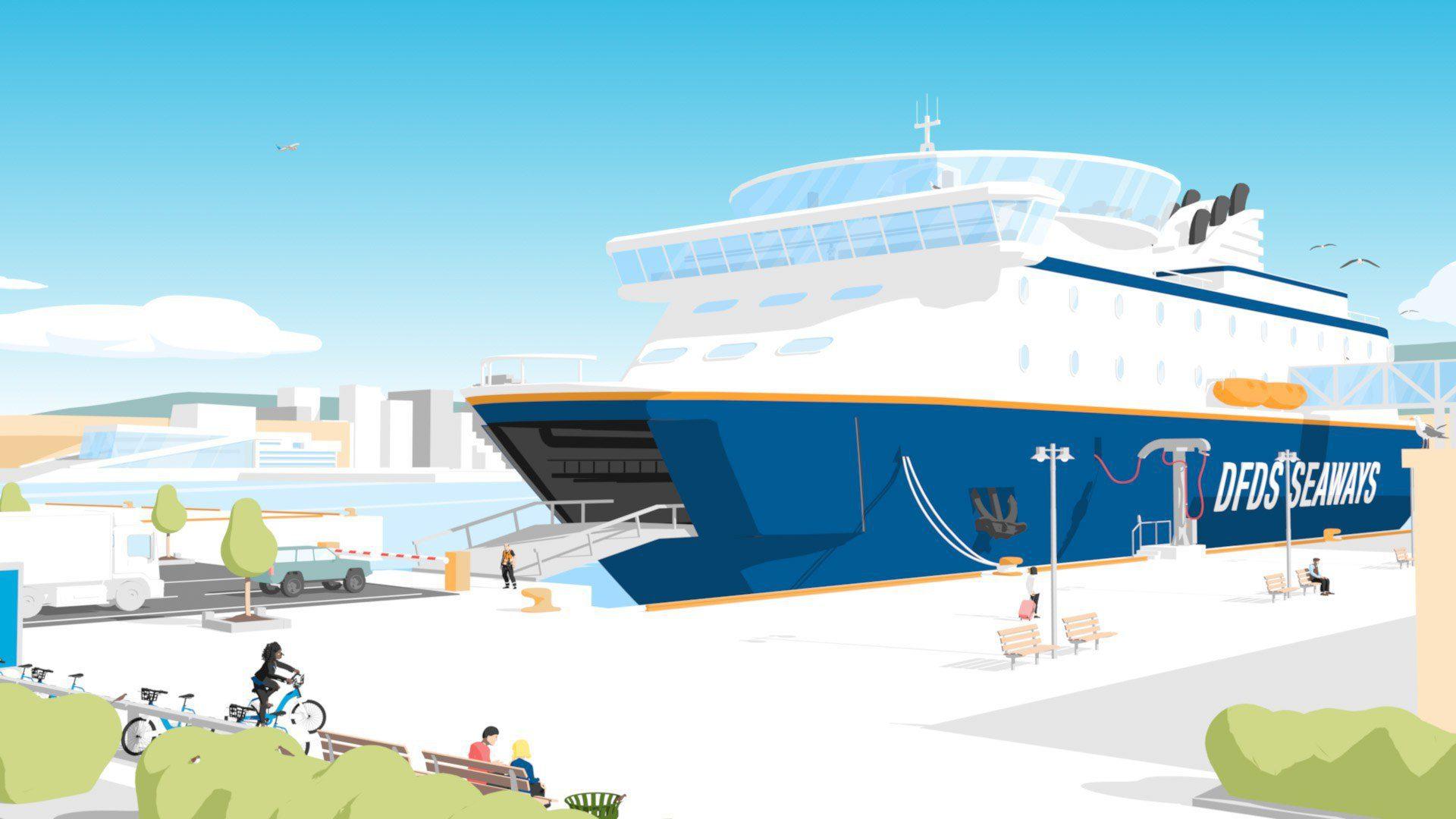 2d animasjon lagd i 3d for hafslund av dfds seaways som er ved bryggen på vippetangen karakterer fyller opp bryggen
