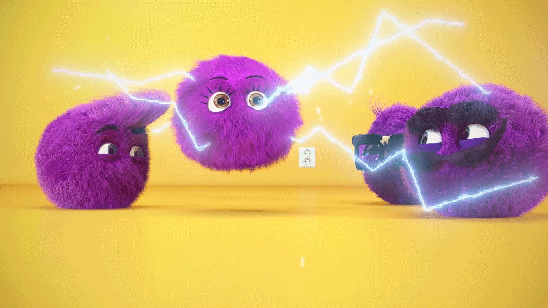 3d animasjon av alle de lilla norgesenergi elektronene det kommer stroemstraaler ut av jente karakteren