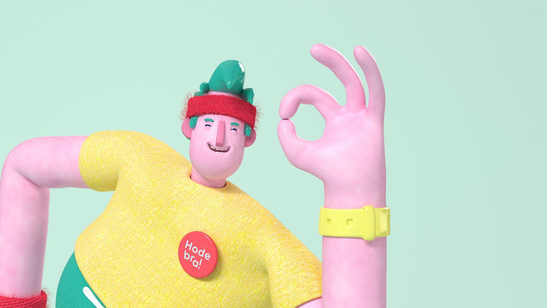 3d animasjon av hodebra karakteren som smiler bredt til kamera og viser ok tegnet med handen