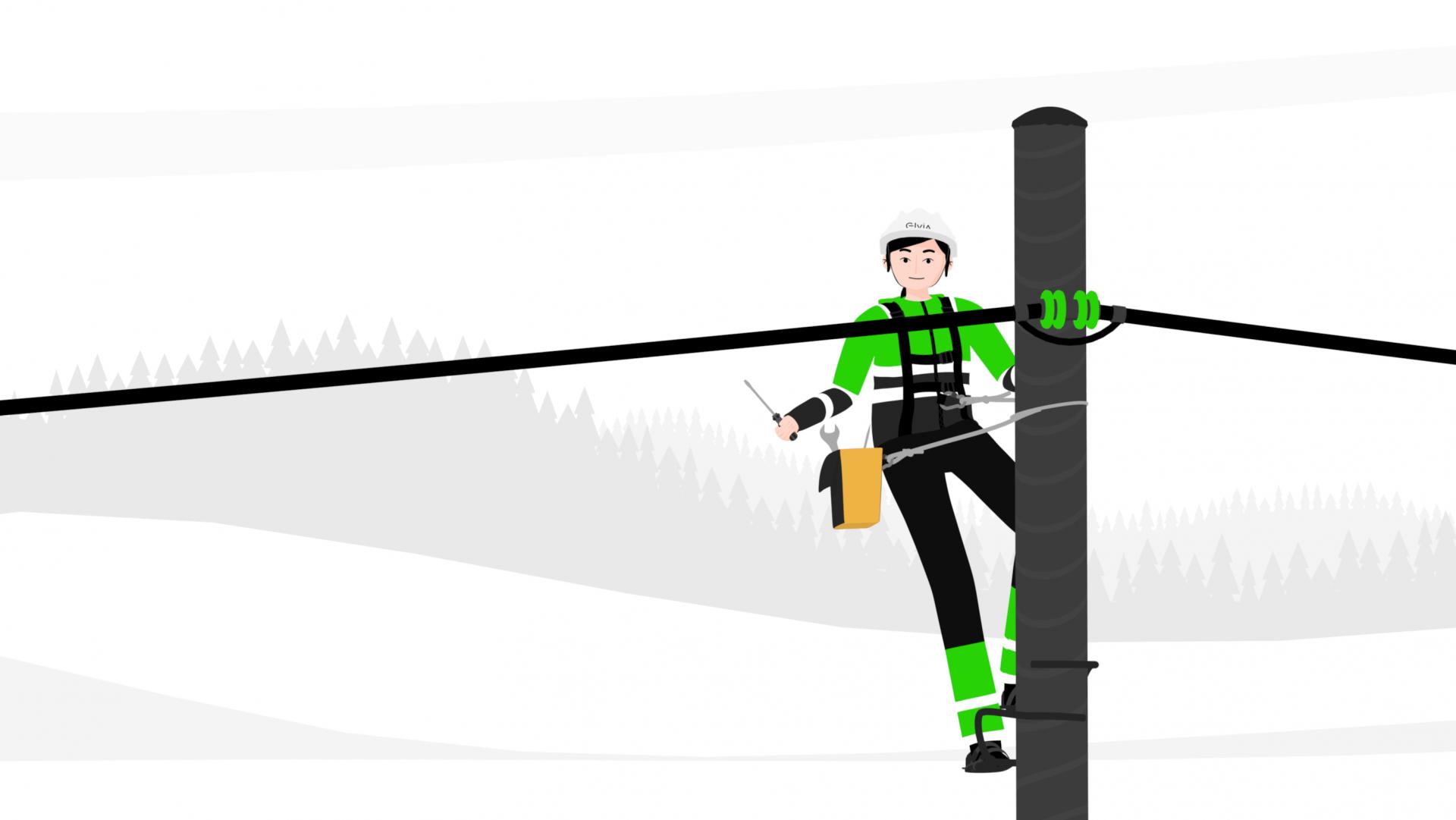 Elva arbeider med sikkerhetsutstyr oppe i en mast snakker til kamera animasjon hero 4k