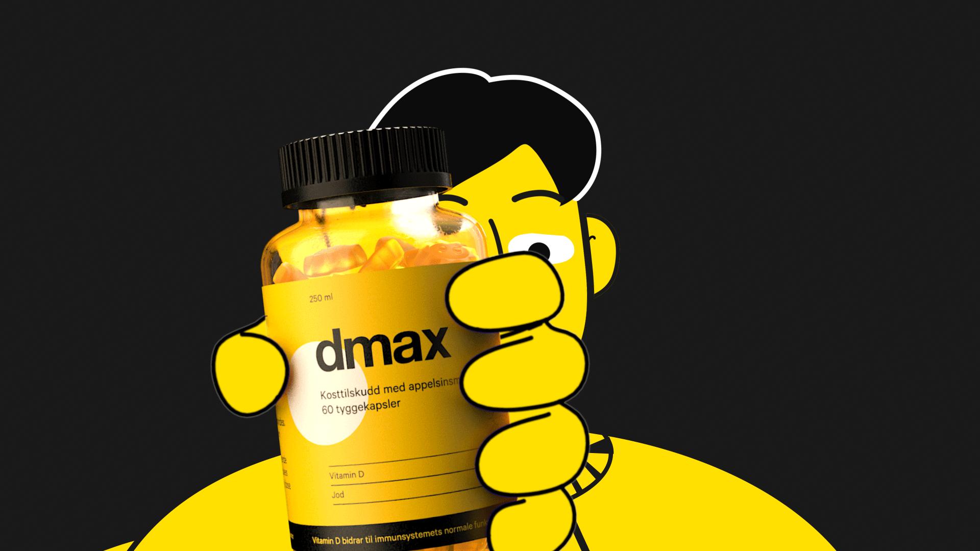 Animasjon for dmax d vitamin hvor 2d karakter holder på en 3d kapselbeholdere i haanden