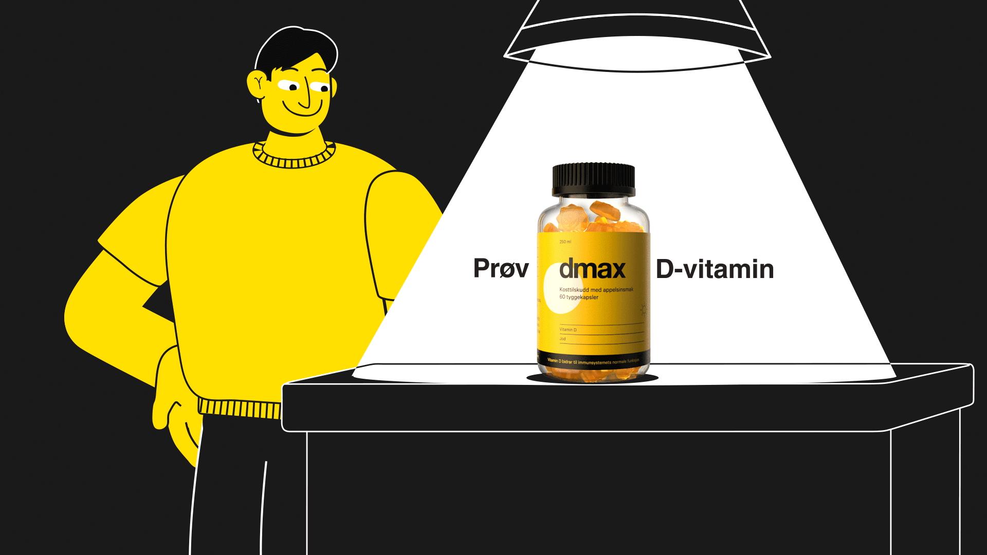 Animasjon for dmax d vitamin hvor 2d karakter staar og ser på kapselbeholderen som staar på bordet med teksten proev dmax d vitamin