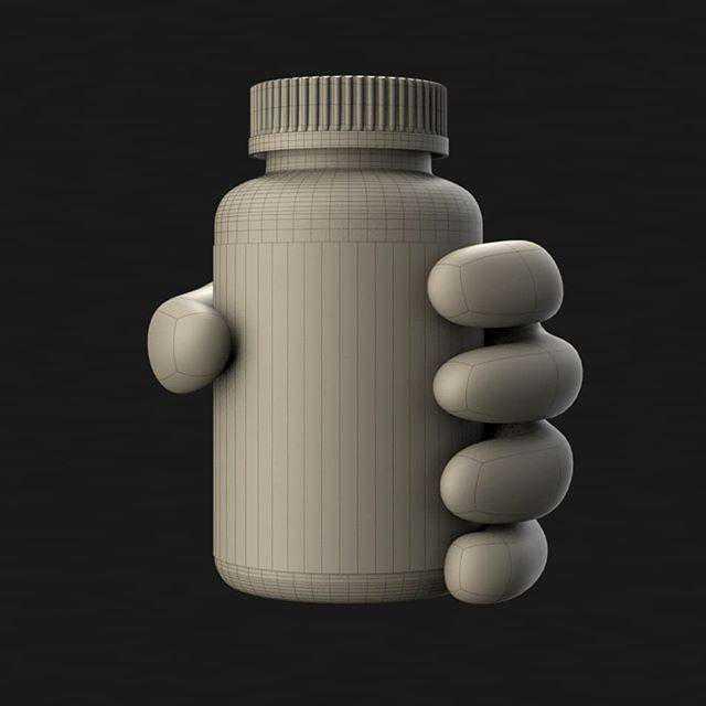Animasjon og 3d model av en hand og dmax d vitamin kapselbeholder i wireframe