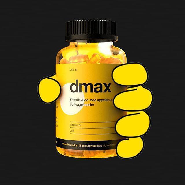 Blanding av 2d design og 3d design på animasjon der en hand tar tak i dmax d vitamin kapselbeholder