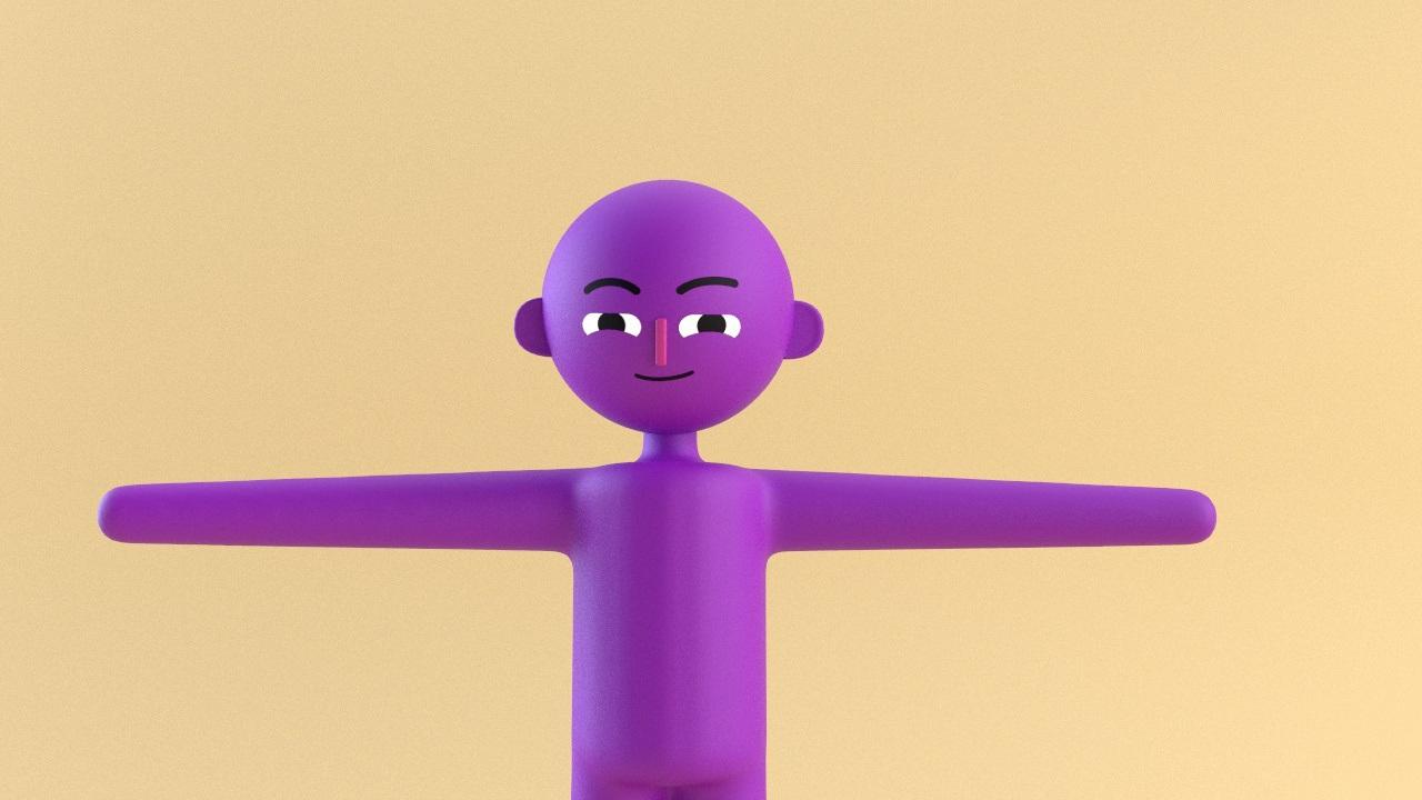 Utforsking av minimalistisk glad lilla karakter som er glad designet i 3d
