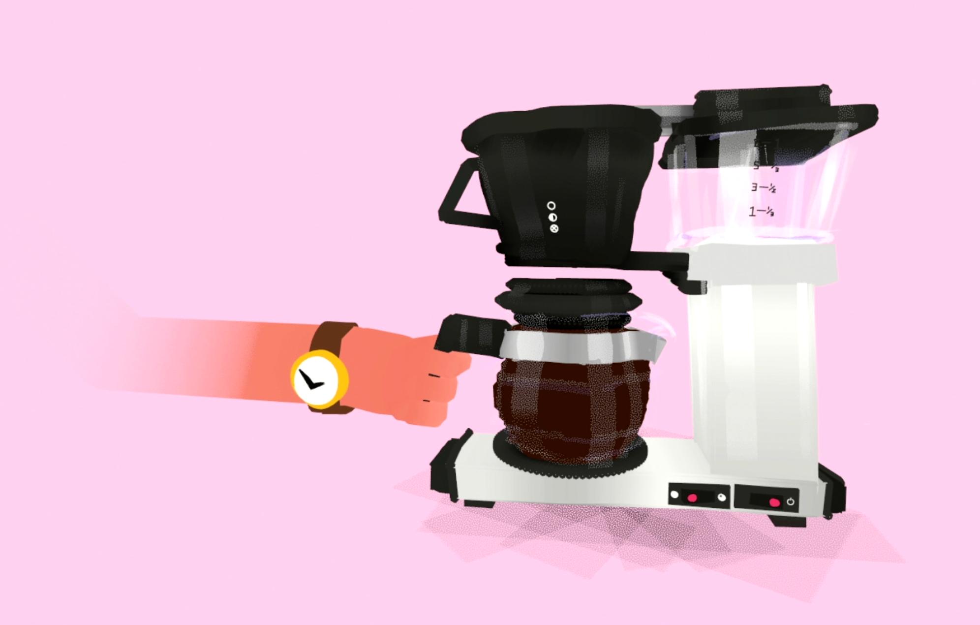 Vr 3d modellering og animasjon av handen til en kontorarbeider som brygger kaffe på en moccamaster