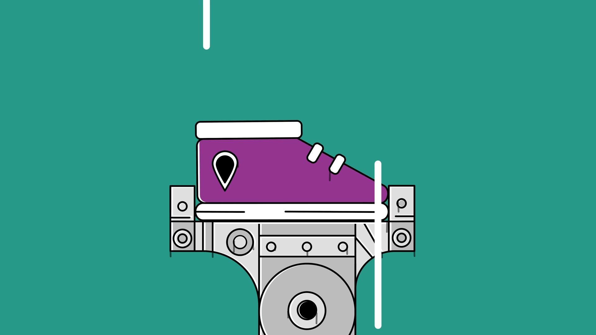 Zizr robot holder en sko som fyker oppover gronn bakgrunn 01 low